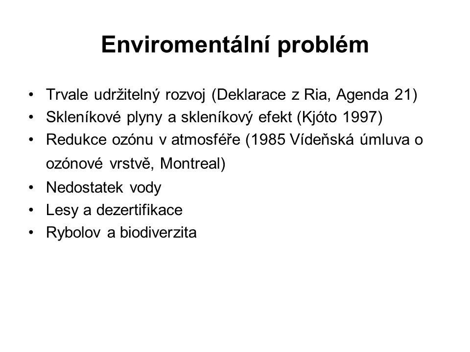 Enviromentální problém Trvale udržitelný rozvoj (Deklarace z Ria, Agenda 21) Skleníkové plyny a skleníkový efekt (Kjóto 1997) Redukce ozónu v atmosféře (1985 Vídeňská úmluva o ozónové vrstvě, Montreal) Nedostatek vody Lesy a dezertifikace Rybolov a biodiverzita