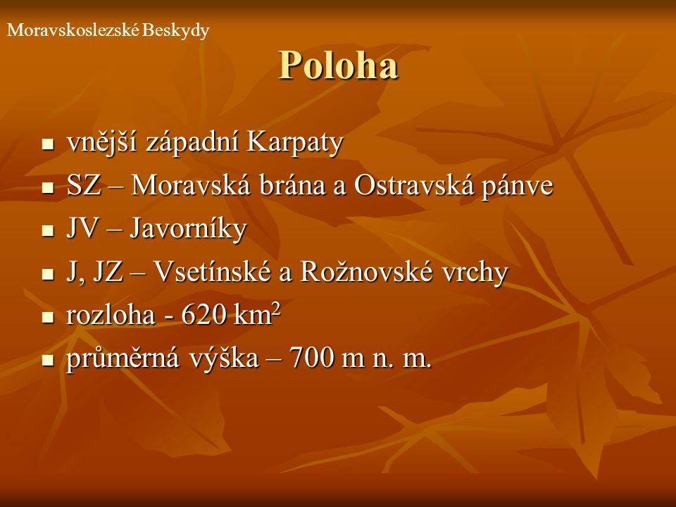 Poloha vnější západní Karpaty vnější západní Karpaty SZ – Moravská brána a Ostravská pánve SZ – Moravská brána a Ostravská pánve JV – Javorníky JV – J