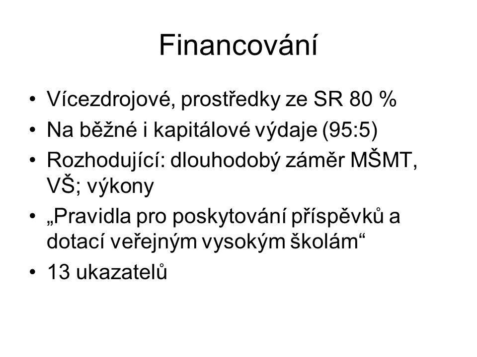 """Financování Vícezdrojové, prostředky ze SR 80 % Na běžné i kapitálové výdaje (95:5) Rozhodující: dlouhodobý záměr MŠMT, VŠ; výkony """"Pravidla pro posky"""