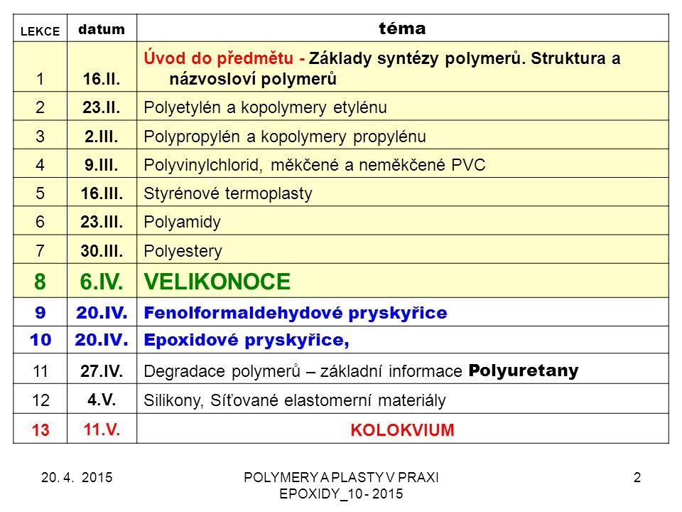 EPOXIDY – VYTVRZOVÁNÍ (síťování) Polyadice přes epoxidové skupiny – nejrozšířenější postup, hlavně POLYAMINY & ANHYDRIDY POLYKARBOXYLOVÝCH KYSELIN Polykondenzace přes – OH Polymerace epoxidových skupin 20.
