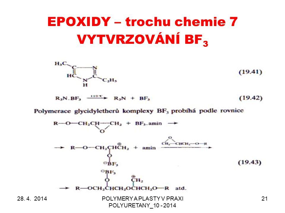 EPOXIDY – trochu chemie 7 28. 4. 2014POLYMERY A PLASTY V PRAXI POLYURETANY_10 - 2014 21 VYTVRZOVÁNÍ BF 3