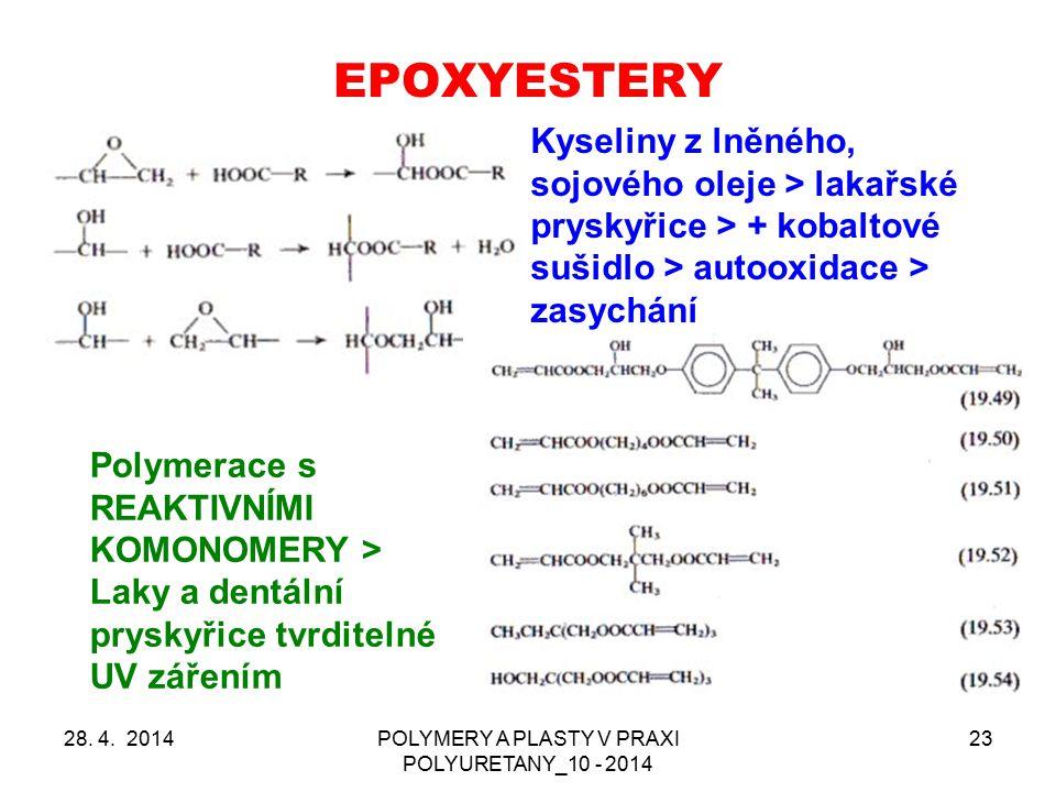 EPOXYESTERY Použití kyseliny akrylové a metakrylové > zředění styrénem (60 – 70 % epoxidové pryskyřice) > vytvrzení redox systémy Vysoká chemická odolnost > rotory větrných elektráren v moři, cisterny, potrubí atd.
