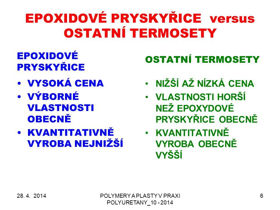EPOXIDOVÉ PRYSKYŘICE versus OSTATNÍ TERMOSETY EPOXIDOVÉ PRYSKYŘICE VYSOKÁ CENA VÝBORNÉ VLASTNOSTI OBECNĚ KVANTITATIVNĚ VYROBA NEJNIŽŠÍ OSTATNÍ TERMOSE