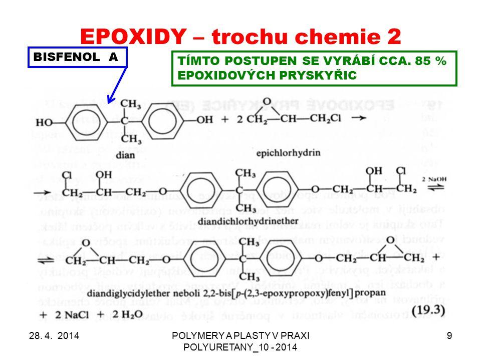 EPOXIDY – trochu chemie 2 28. 4. 2014POLYMERY A PLASTY V PRAXI POLYURETANY_10 - 2014 9 BISFENOL A TÍMTO POSTUPEN SE VYRÁBÍ CCA. 85 % EPOXIDOVÝCH PRYSK