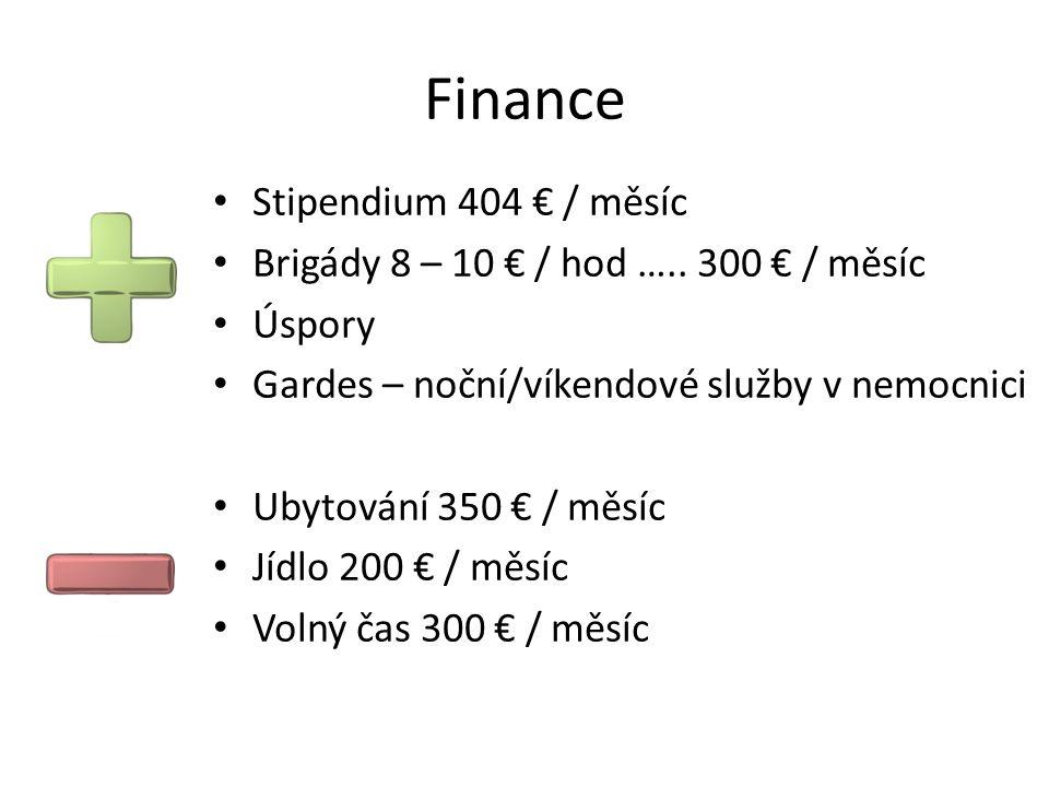 Finance Stipendium 404 € / měsíc Brigády 8 – 10 € / hod …..