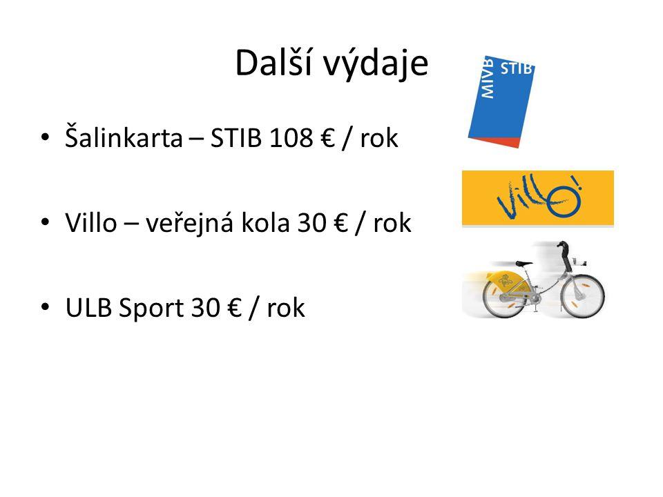 Další výdaje Šalinkarta – STIB 108 € / rok Villo – veřejná kola 30 € / rok ULB Sport 30 € / rok