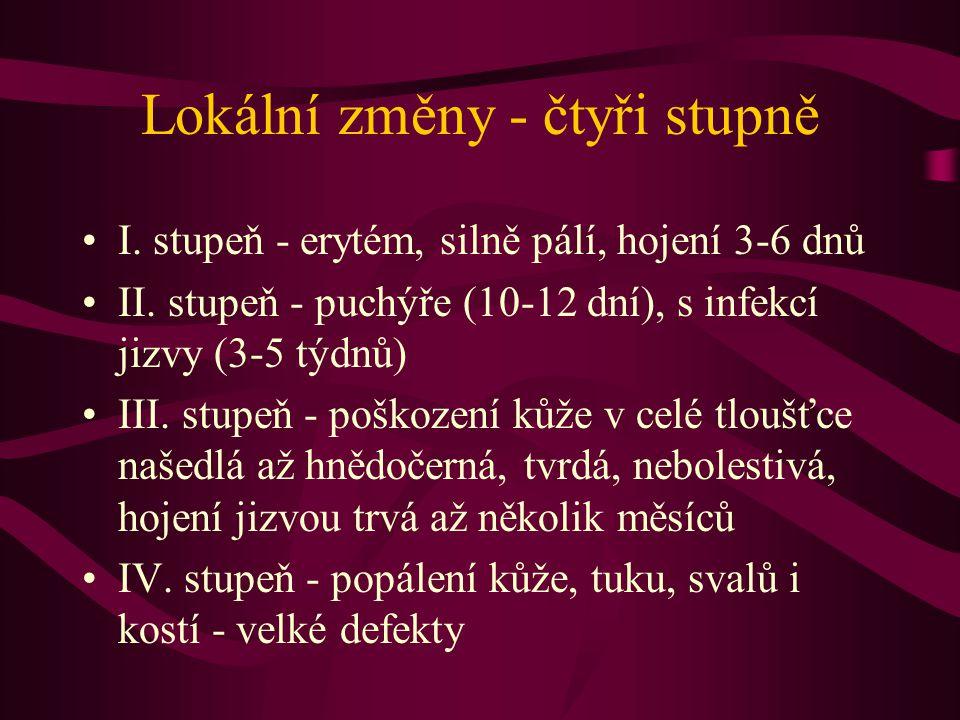 Lokální změny - čtyři stupně I. stupeň - erytém, silně pálí, hojení 3-6 dnů II. stupeň - puchýře (10-12 dní), s infekcí jizvy (3-5 týdnů) III. stupeň