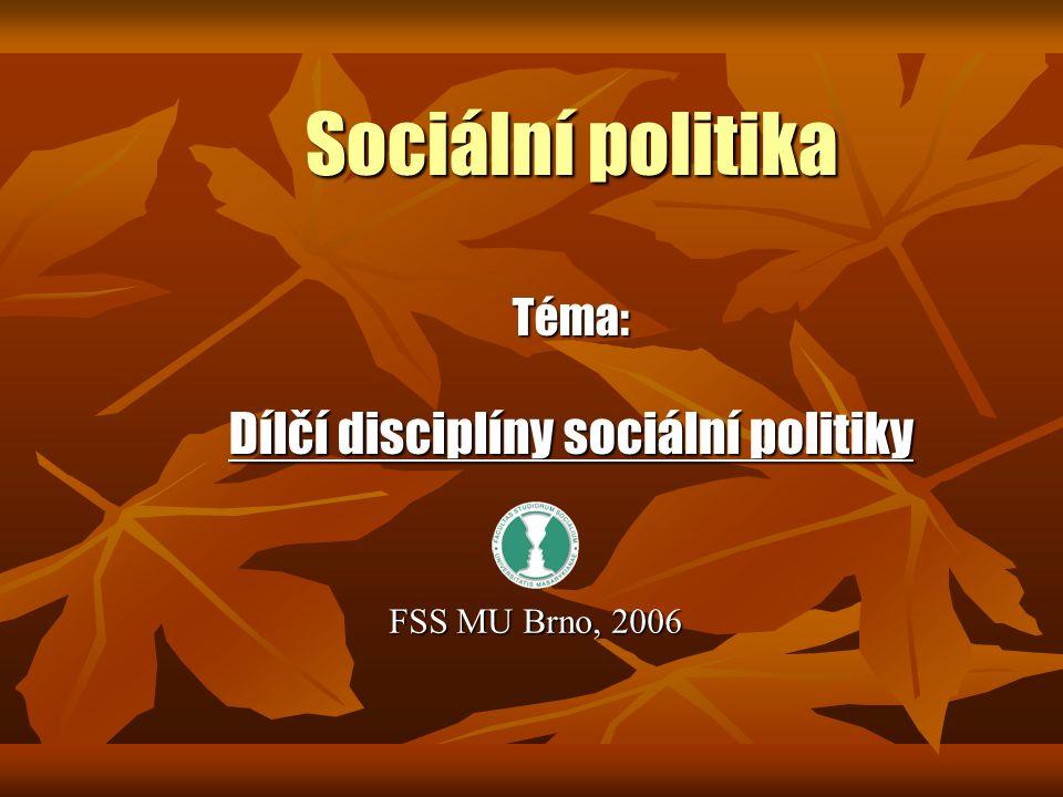 Sociální politika Téma: Dílčí disciplíny sociální politiky FSS MU Brno, 2006