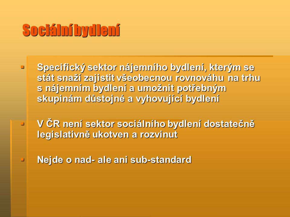 Sociální bydlení  Specifický sektor nájemního bydlení, kterým se stát snaží zajistit všeobecnou rovnováhu na trhu s nájemním bydlení a umožnit potřebným skupinám důstojné a vyhovující bydlení  V ČR není sektor sociálního bydlení dostatečně legislativně ukotven a rozvinut  Nejde o nad- ale ani sub-standard
