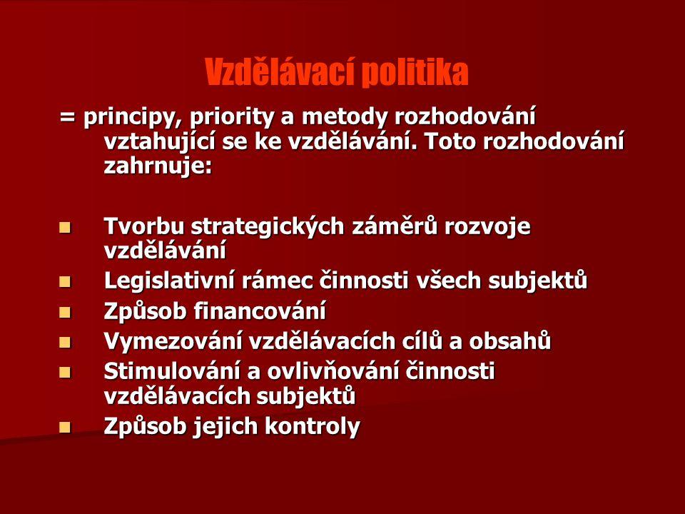 Vzdělávací politika = principy, priority a metody rozhodování vztahující se ke vzdělávání.