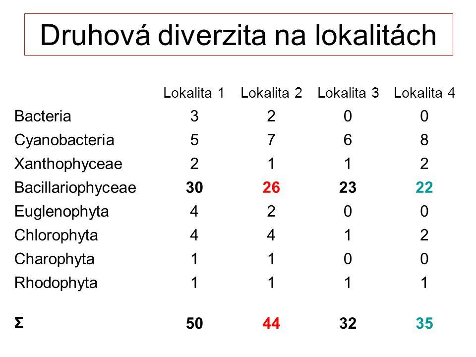 Druhová diverzita na lokalitách Lokalita 1Lokalita 2Lokalita 3Lokalita 4 Bacteria3200 Cyanobacteria5768 Xanthophyceae2112 Bacillariophyceae30262322 Euglenophyta4200 Chlorophyta4412 Charophyta1100 Rhodophyta1111 Σ50443235