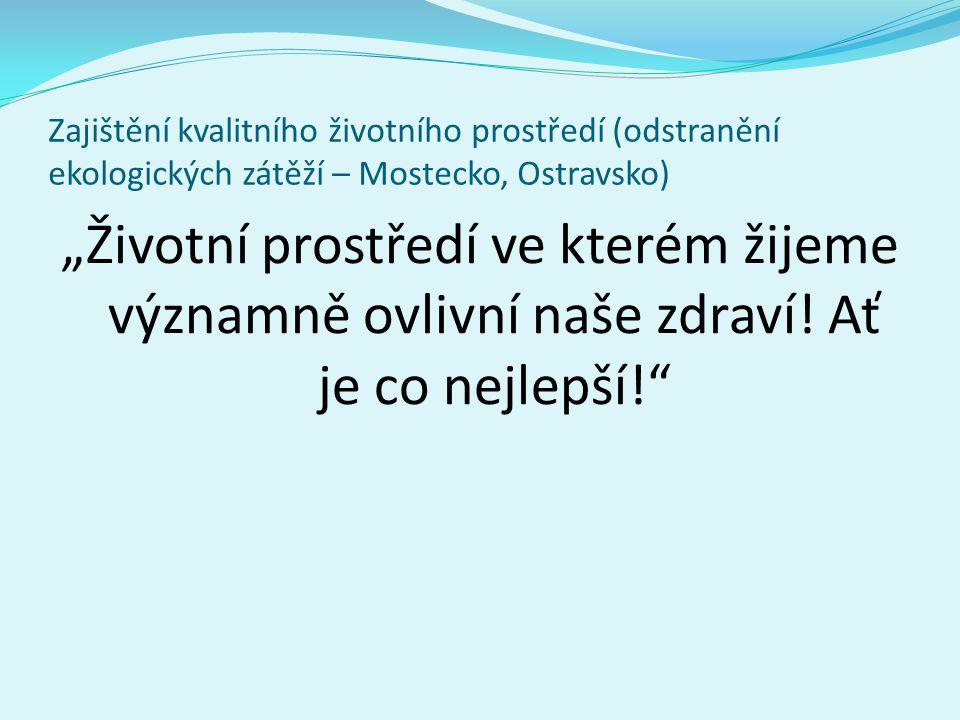 """Zajištění kvalitního životního prostředí (odstranění ekologických zátěží – Mostecko, Ostravsko) """"Životní prostředí ve kterém žijeme významně ovlivní naše zdraví."""