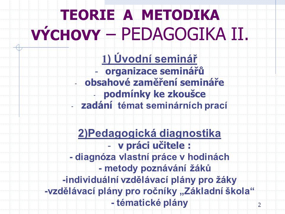 2 Tematické zaměření seminářů TEORIE A METODIKA VÝCHOVY – PEDAGOGIKA II.