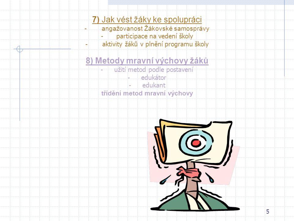 45 REFLEXE A SEBEREFLEXE (EVALUACE) VLASTNÍ PRÁCEREFLEXE A SEBEREFLEXE (EVALUACE) VLASTNÍ PRÁCE učitel hodnotí své hodiny s cílem přizpůsobit podle získaných poznatků budoucí plánování a praktickou činnost učitel pravidelně uvažuje o své aktuální praxi a snaží se rozptylovat ty stránky své práce, které vyžadují další rozvoj k hodnocení své praxe užívá učitel širokou škálu metod učitel pravidelně prověřuje organizaci svého času a svých činností a zjišťuje, zda by nebylo možno je uspořádat tak, aby dosáhl větší účinnosti učitel pravidelně reviduje svoje strategie a techniky Doma: