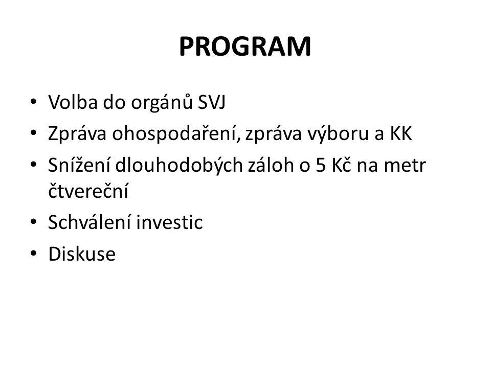 PROGRAM Volba do orgánů SVJ Zpráva ohospodaření, zpráva výboru a KK Snížení dlouhodobých záloh o 5 Kč na metr čtvereční Schválení investic Diskuse