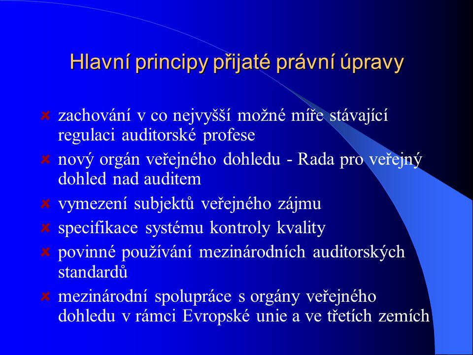 Hlavní principy přijaté právní úpravy zachování v co nejvyšší možné míře stávající regulaci auditorské profese nový orgán veřejného dohledu - Rada pro