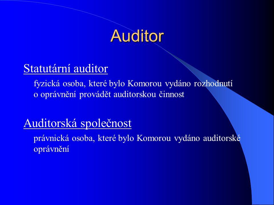Auditor Statutární auditor fyzická osoba, které bylo Komorou vydáno rozhodnutí o oprávnění provádět auditorskou činnost Auditorská společnost právnick