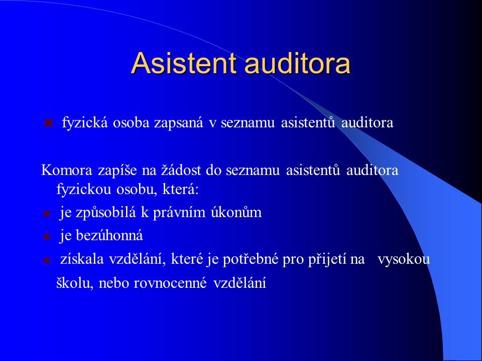 Asistent auditora fyzická osoba zapsaná v seznamu asistentů auditora Komora zapíše na žádost do seznamu asistentů auditora fyzickou osobu, která: je z