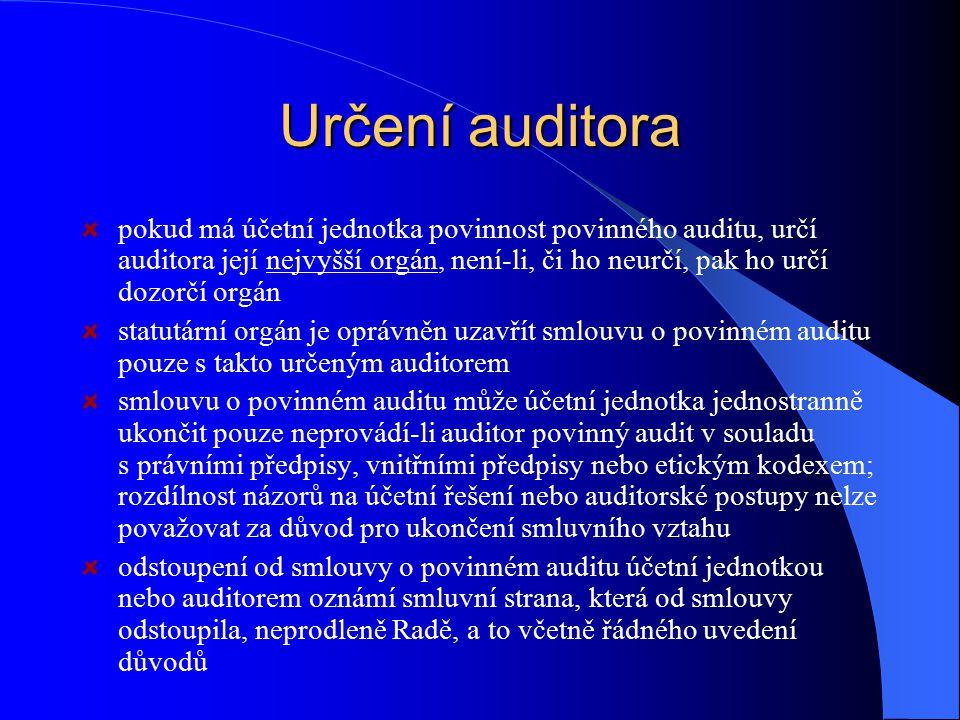 Určení auditora pokud má účetní jednotka povinnost povinného auditu, určí auditora její nejvyšší orgán, není-li, či ho neurčí, pak ho určí dozorčí org