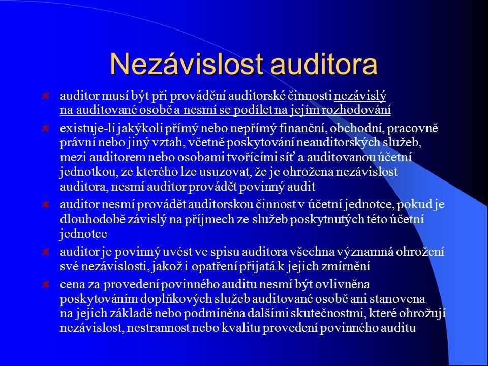Nezávislost auditora auditor musí být při provádění auditorské činnosti nezávislý na auditované osobě a nesmí se podílet na jejím rozhodování existuje