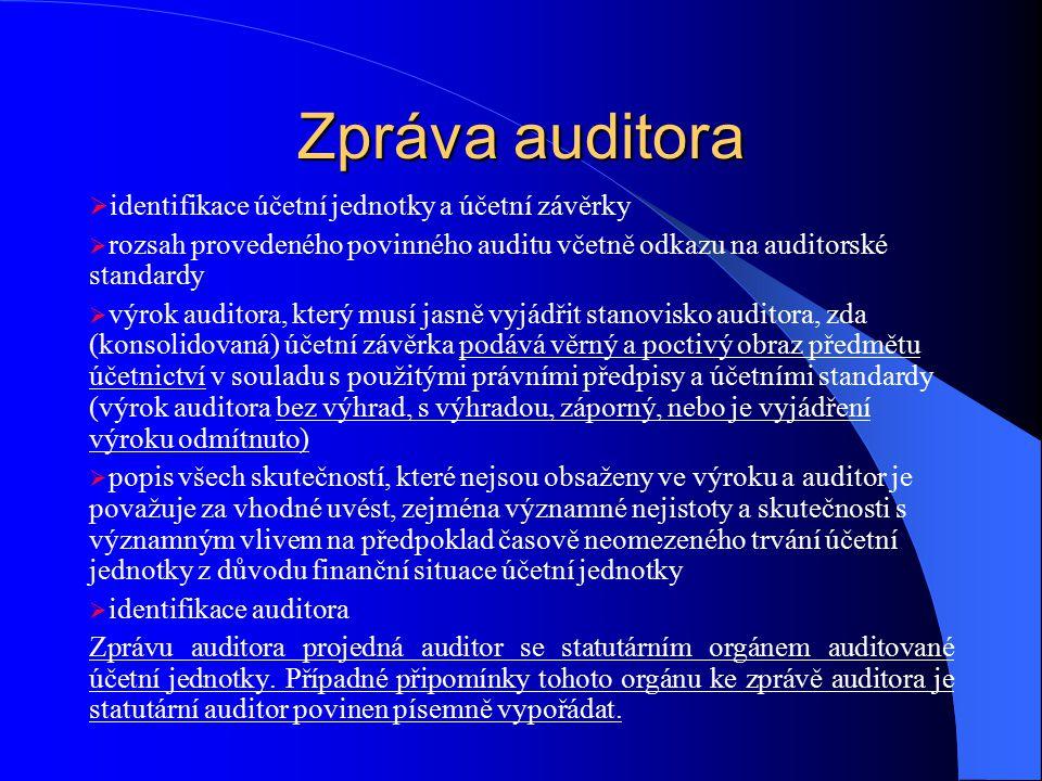 Zpráva auditora  identifikace účetní jednotky a účetní závěrky  rozsah provedeného povinného auditu včetně odkazu na auditorské standardy  výrok au