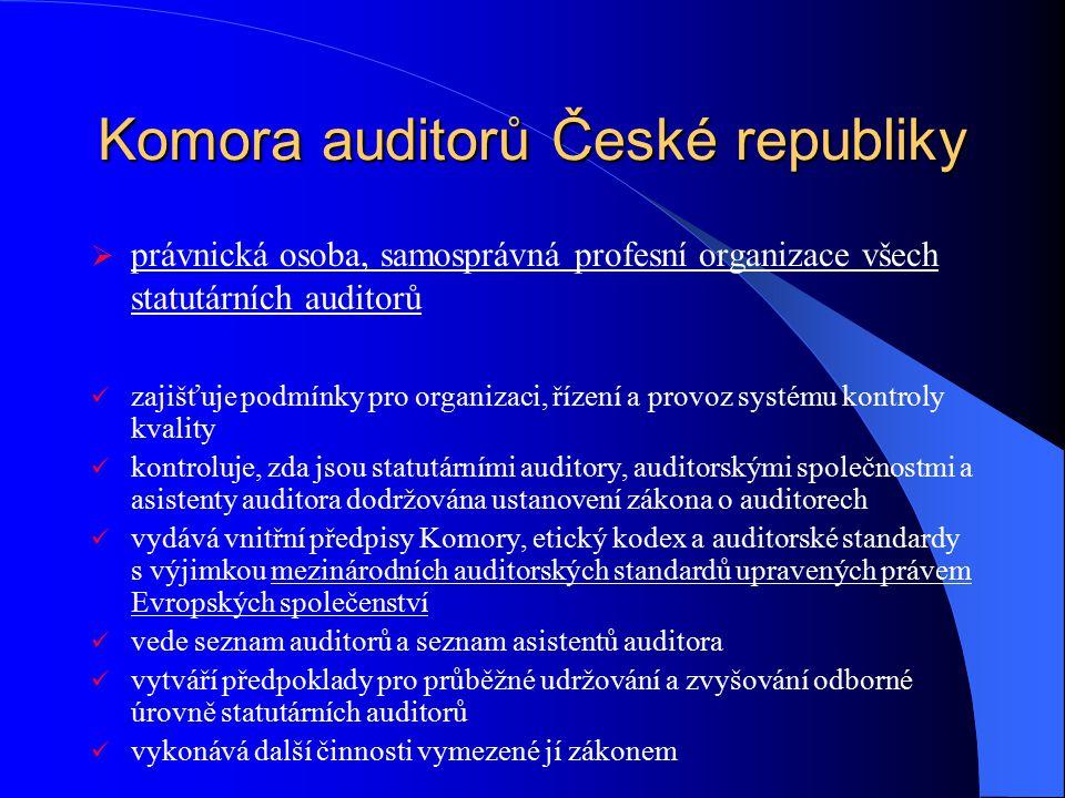 Komora auditorů České republiky  právnická osoba, samosprávná profesní organizace všech statutárních auditorů zajišťuje podmínky pro organizaci, říze