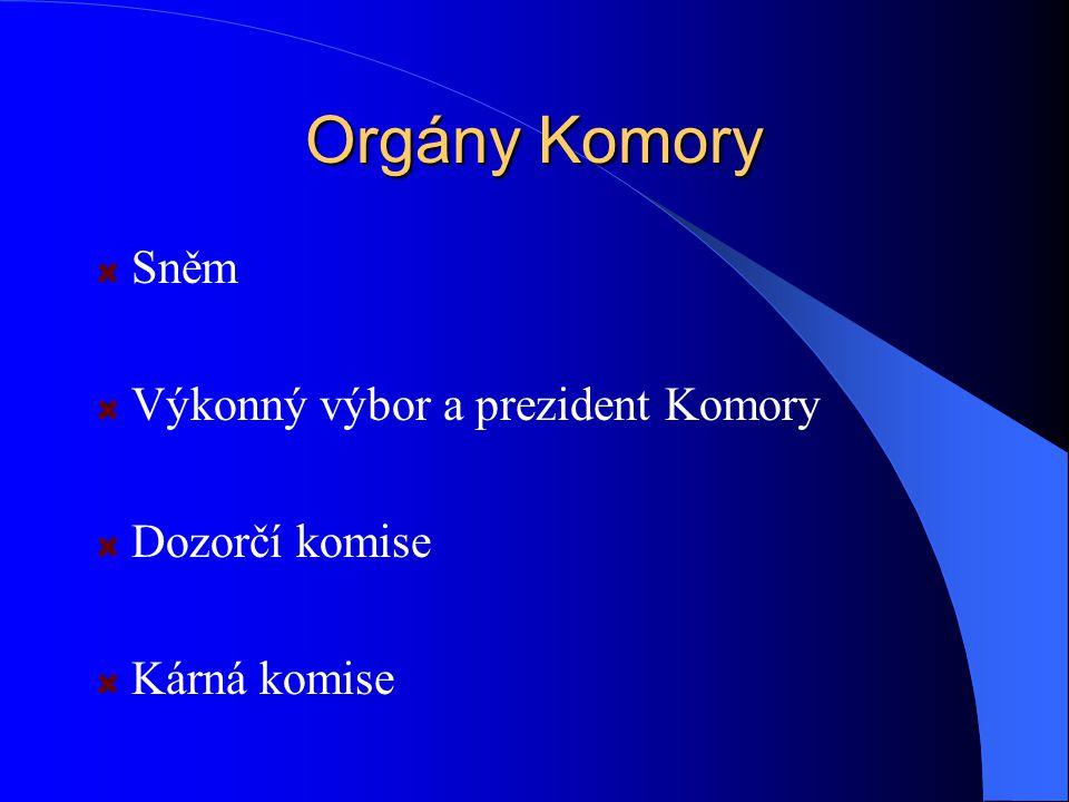 Orgány Komory Sněm Výkonný výbor a prezident Komory Dozorčí komise Kárná komise