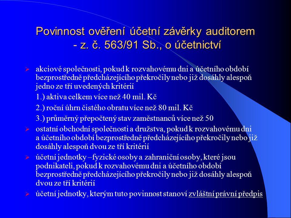 Povinnost ověření účetní závěrky auditorem z. č. 563/91 Sb., o účetnictví Povinnost ověření účetní závěrky auditorem - z. č. 563/91 Sb., o účetnictví