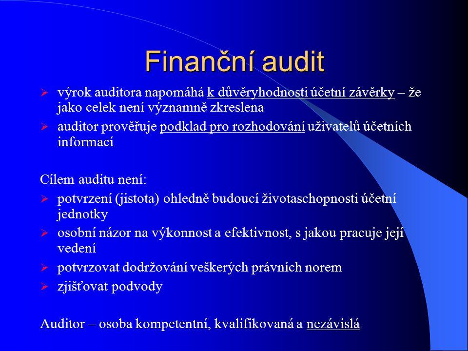 Finanční audit  výrok auditora napomáhá k důvěryhodnosti účetní závěrky – že jako celek není významně zkreslena  auditor prověřuje podklad pro rozho