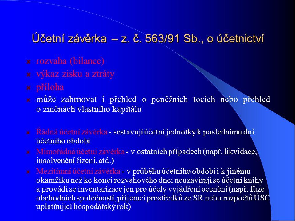 Účetní závěrka – z. č. 563/91 Sb., o účetnictví rozvaha (bilance) výkaz zisku a ztráty příloha může zahrnovat i přehled o peněžních tocích nebo přehle