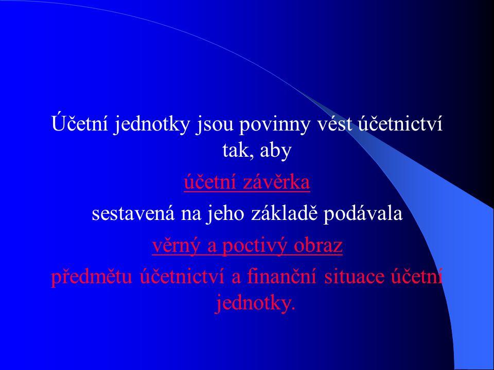 Předmět účetnictví Účetní jednotky účtují o:  stavu a pohybu majetku a jiných aktiv  stavu a pohybu závazků a jiných pasiv  nákladech a výnosech  výsledku hospodaření