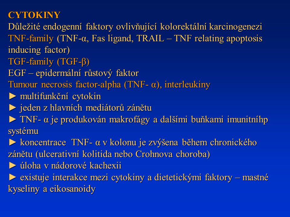 CYTOKINY Důležité endogenní faktory ovlivňující kolorektální karcinogenezi TNF-family (TNF-α, Fas ligand, TRAIL – TNF relating apoptosis inducing fact
