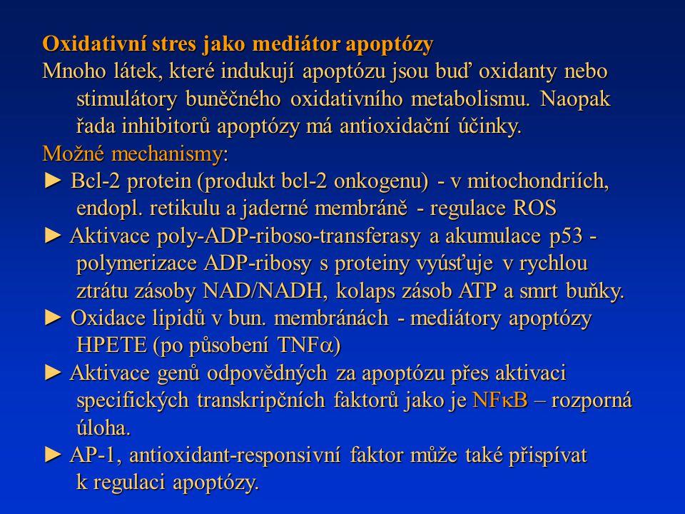 Oxidativní stres jako mediátor apoptózy Mnoho látek, které indukují apoptózu jsou buď oxidanty nebo stimulátory buněčného oxidativního metabolismu. Na