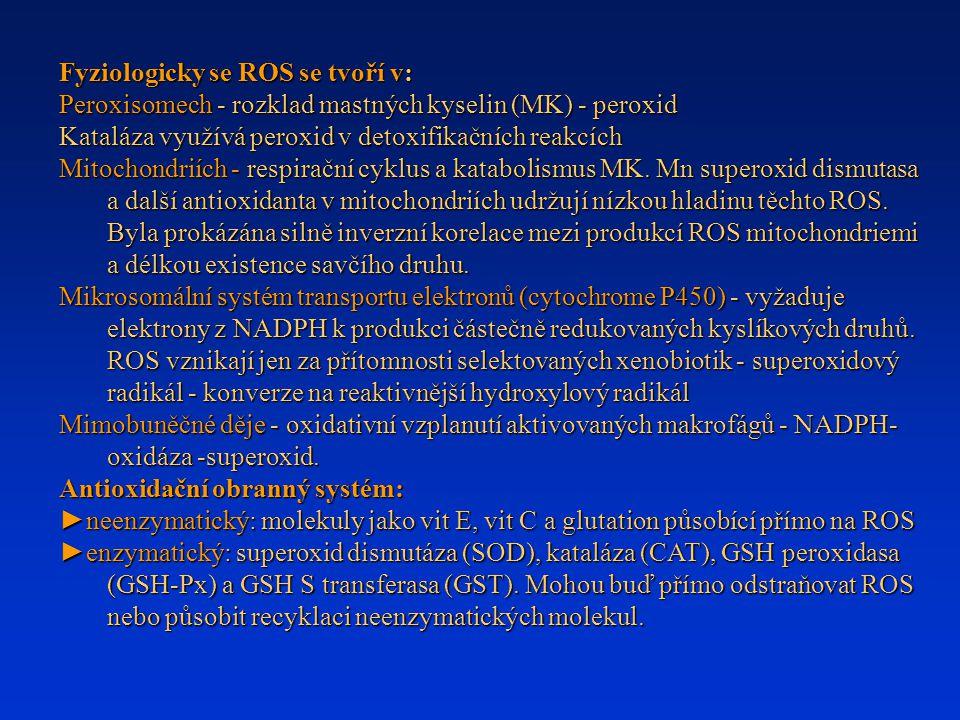 Fyziologicky se ROS se tvoří v: Peroxisomech - rozklad mastných kyselin (MK) - peroxid Kataláza využívá peroxid v detoxifikačních reakcích Mitochondri
