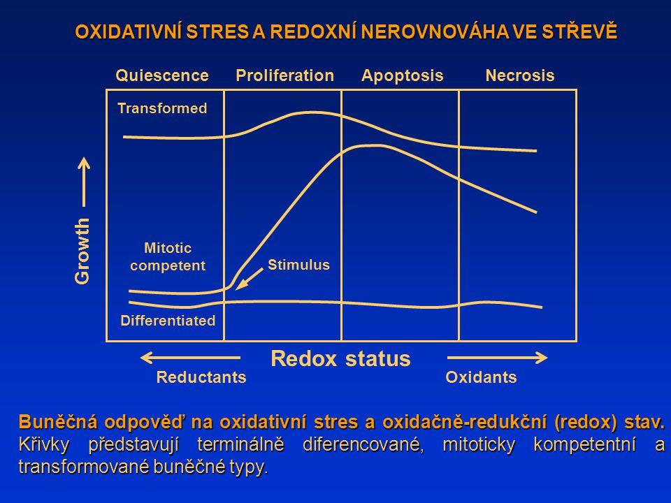 Buněčná odpověď na oxidativní stres a oxidačně-redukční (redox) stav. Křivky představují terminálně diferencované, mitoticky kompetentní a transformov