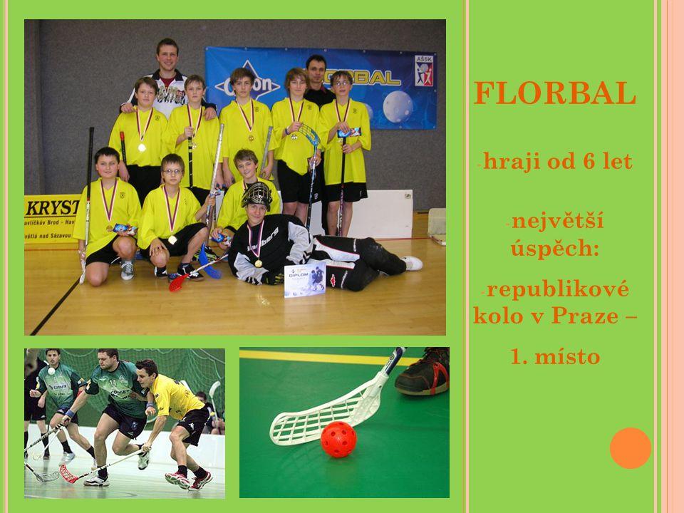 FLORBAL - hraji od 6 let - největší úspěch: - republikové kolo v Praze – 1. místo
