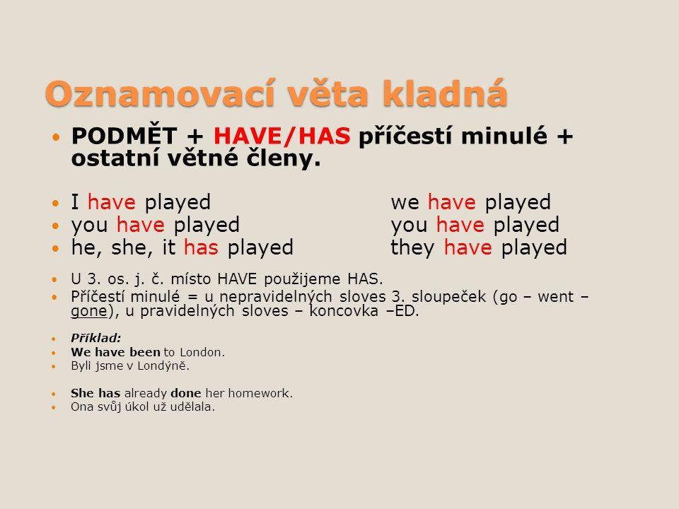 Oznamovací věta kladná PODMĚT + HAVE/HAS příčestí minulé + ostatní větné členy. I have playedwe have played you have playedyou have played he, she, it