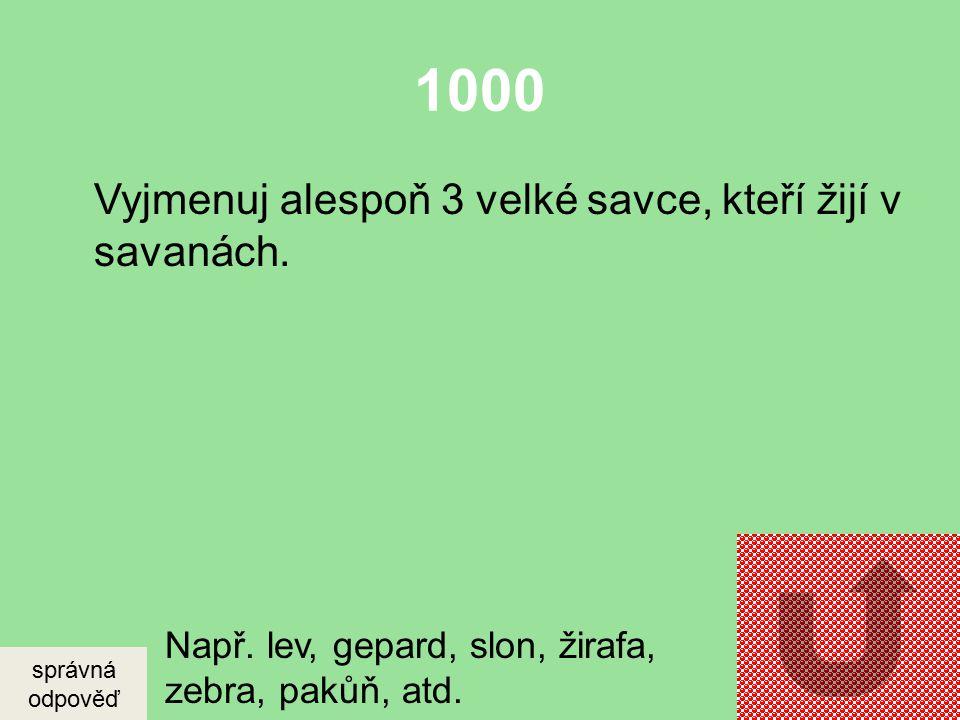 1000 Vyjmenuj alespoň 3 velké savce, kteří žijí v savanách.