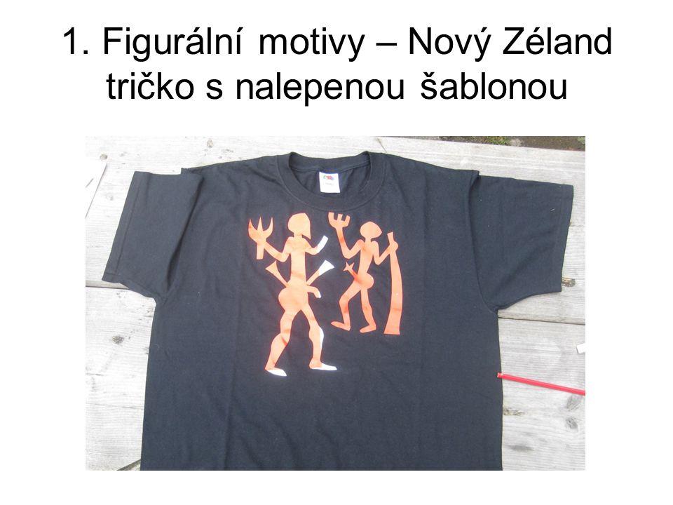 1. Figurální motivy – Nový Zéland tričko s nalepenou šablonou