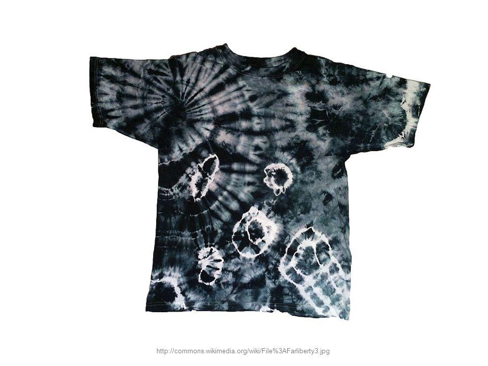 Úkol – řešení: jedná se o vázanou batiku s opakovaným vyvazováním a barvením http://commons.wikimedia.org/wiki/File%3AFarliberty4.jpg