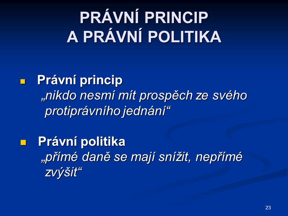"""23 PRÁVNÍ PRINCIP A PRÁVNÍ POLITIKA Právní princip Právní princip """"nikdo nesmí mít prospěch ze svého """"nikdo nesmí mít prospěch ze svého protiprávního"""