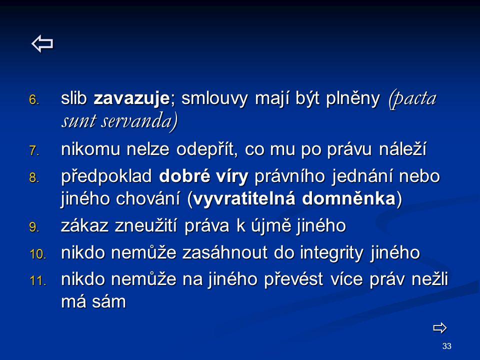 33  6. slib zavazuje; smlouvy mají být plněny (pacta sunt servanda) 7. nikomu nelze odepřít, co mu po právu náleží 8. předpoklad dobré víry právního