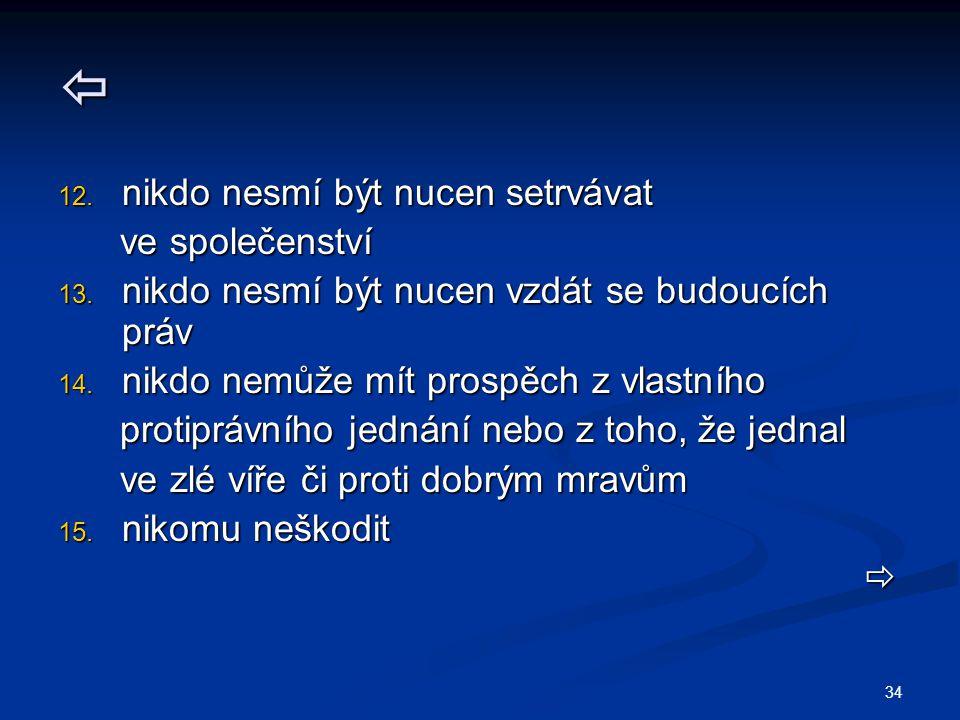 34  12. nikdo nesmí být nucen setrvávat ve společenství ve společenství 13. nikdo nesmí být nucen vzdát se budoucích práv 14. nikdo nemůže mít prospě