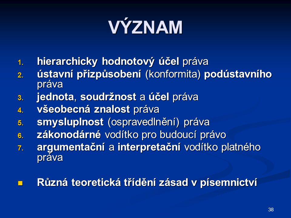 38 VÝZNAM 1. hierarchicky hodnotový účel práva 2. ústavní přizpůsobení (konformita) podústavního práva 3. jednota, soudržnost a účel práva 4. všeobecn