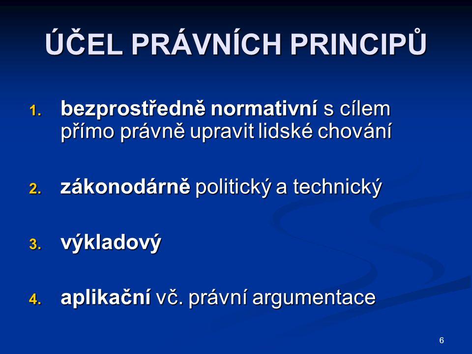 6 ÚČEL PRÁVNÍCH PRINCIPŮ 1. bezprostředně normativní s cílem přímo právně upravit lidské chování 2. zákonodárně politický a technický 3. výkladový 4.