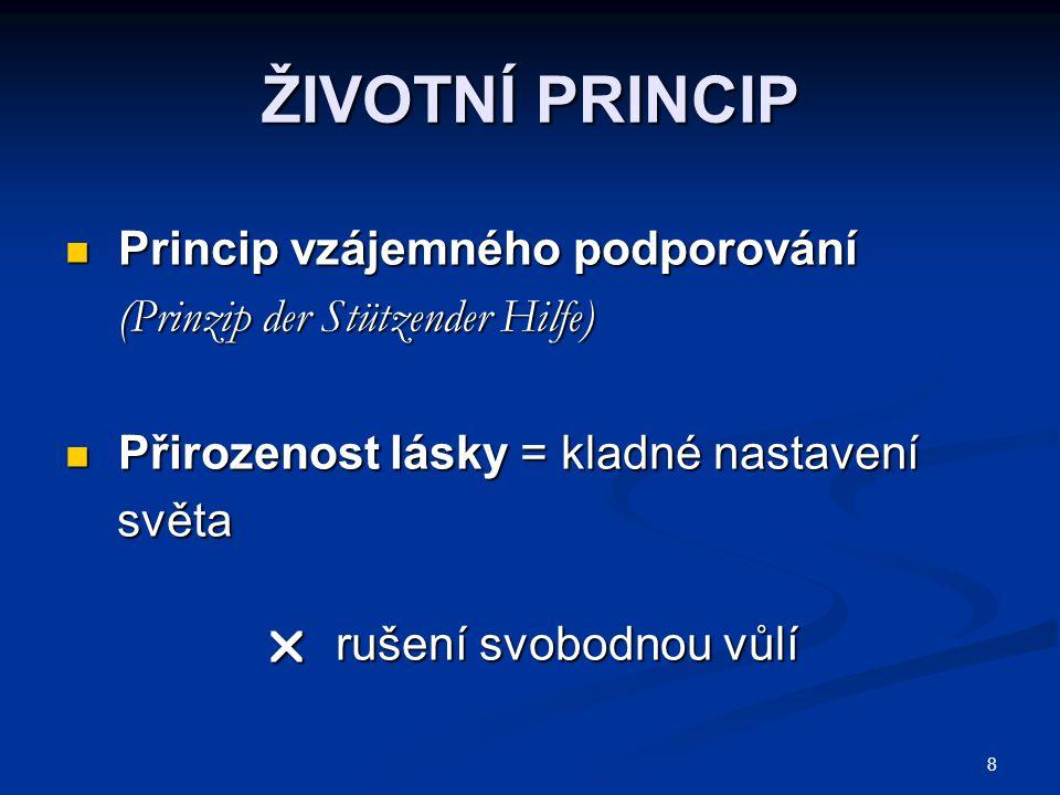 8 ŽIVOTNÍ PRINCIP Princip vzájemného podporování Princip vzájemného podporování (Prinzip der Stützender Hilfe) (Prinzip der Stützender Hilfe) Přirozen