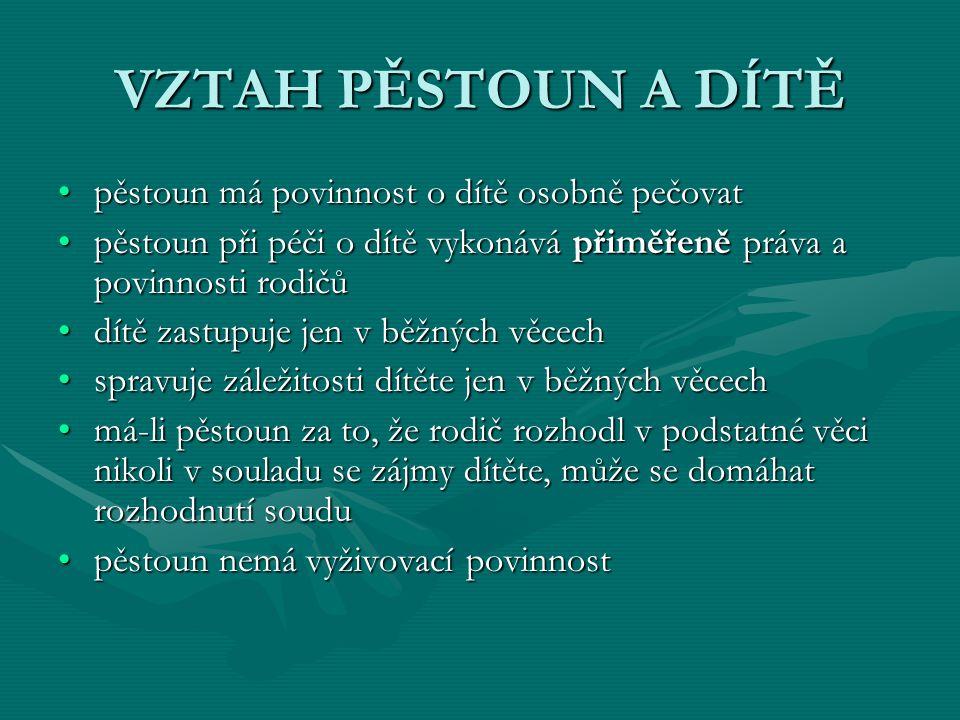 VZTAH PĚSTOUN A DÍTĚ pěstoun má povinnost o dítě osobně pečovatpěstoun má povinnost o dítě osobně pečovat pěstoun při péči o dítě vykonává přiměřeně p