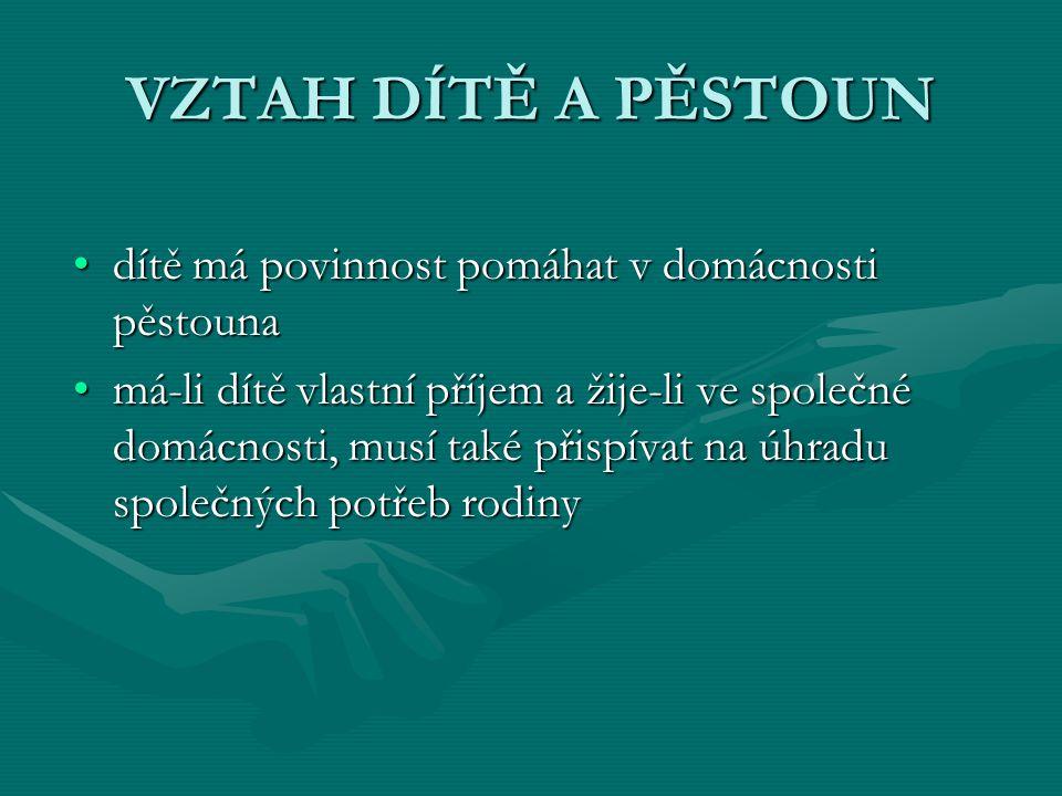 VZTAH DÍTĚ A PĚSTOUN dítě má povinnost pomáhat v domácnosti pěstounadítě má povinnost pomáhat v domácnosti pěstouna má-li dítě vlastní příjem a žije-l