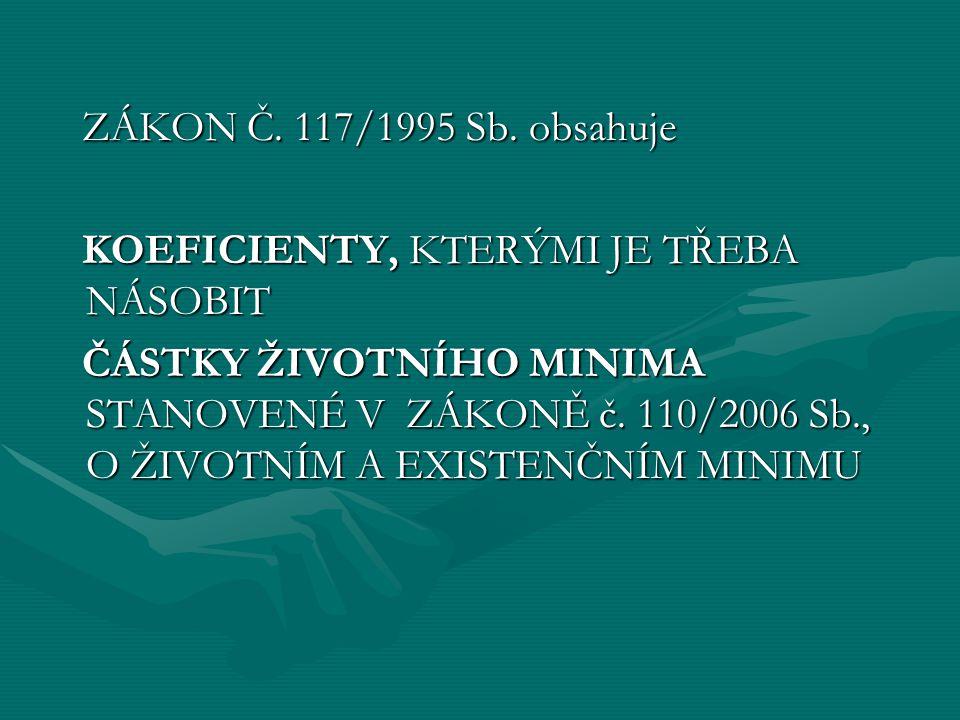 ZÁKON Č. 117/1995 Sb. obsahuje ZÁKON Č. 117/1995 Sb. obsahuje KOEFICIENTY, KTERÝMI JE TŘEBA NÁSOBIT KOEFICIENTY, KTERÝMI JE TŘEBA NÁSOBIT ČÁSTKY ŽIVOT
