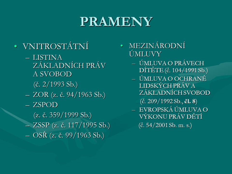 PRAMENY VNITROSTÁTNÍVNITROSTÁTNÍ –LISTINA ZÁKLADNÍCH PRÁV A SVOBOD (č. 2/1993 Sb.) (č. 2/1993 Sb.) –ZOR (z. č. 94/1963 Sb.) –ZSPOD (z. č. 359/1999 Sb.